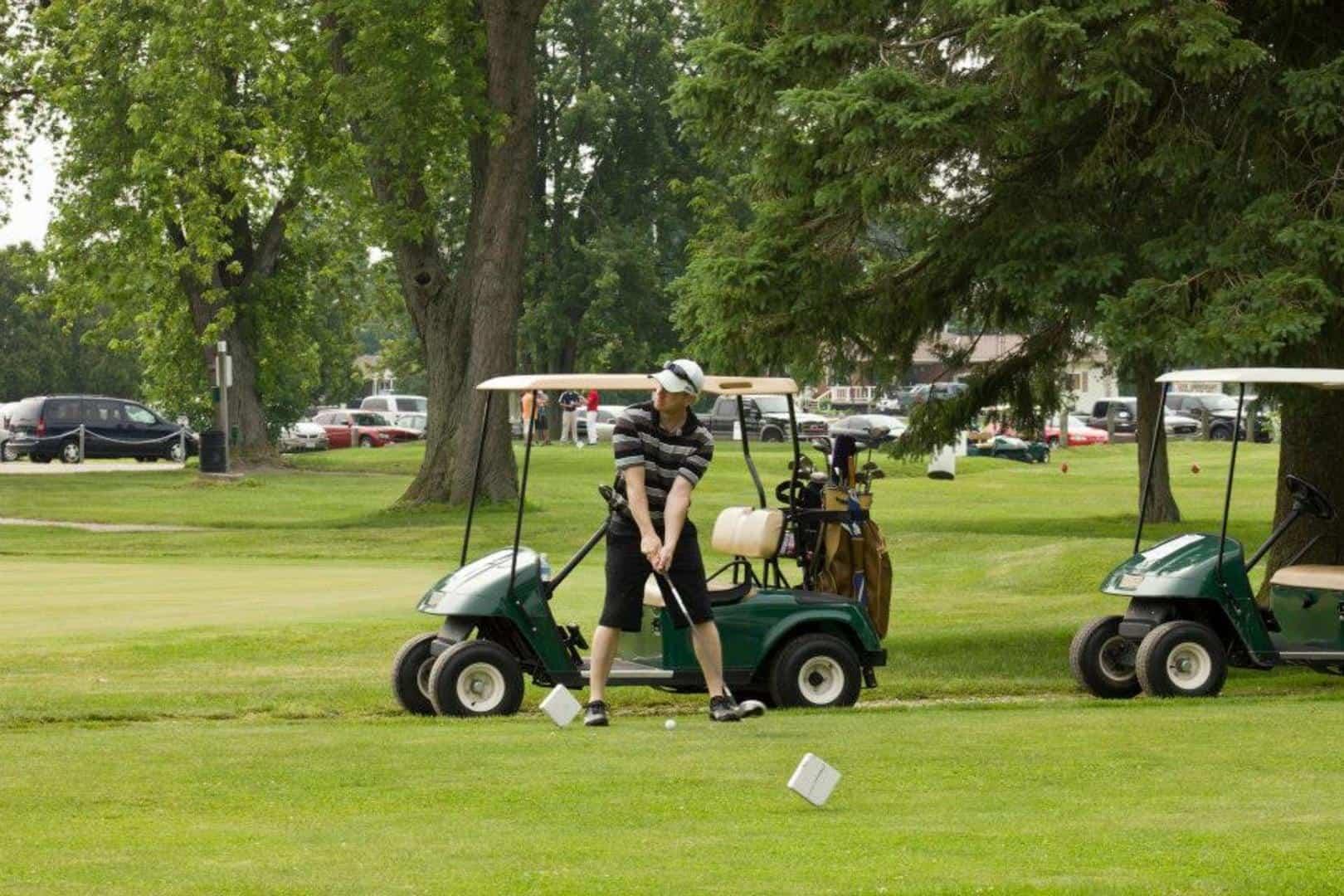 A man is playing golf in Baldoon Golf Club