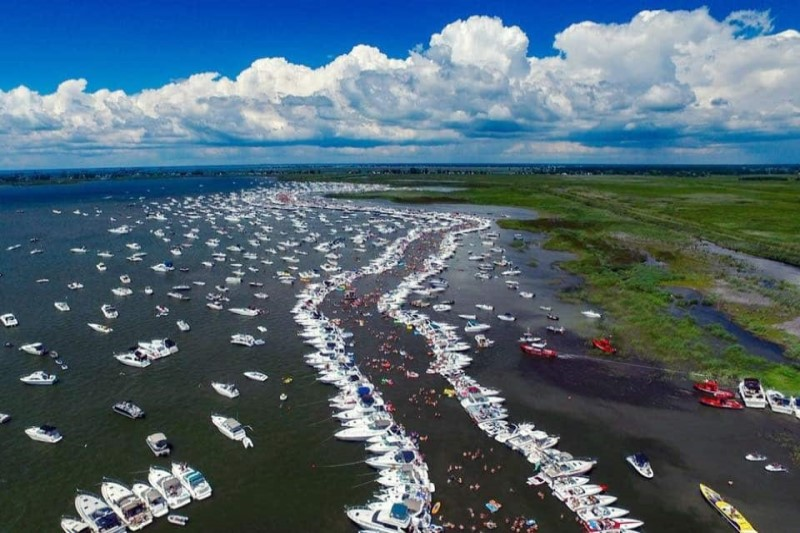 Boats and yachts on the bank of Lake St. Clair