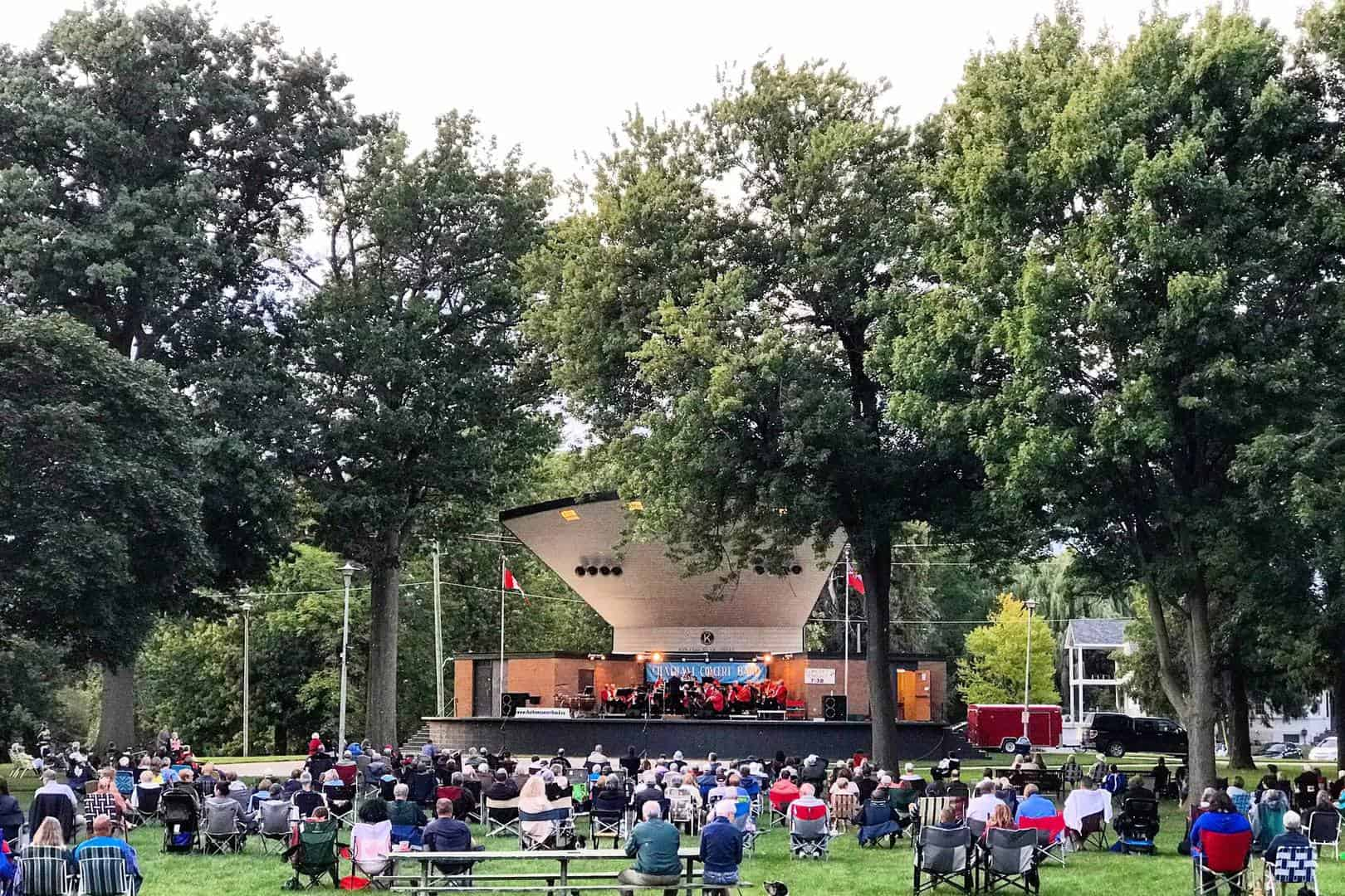 Scene and people on the performance during Chatam Concert in Tecumseh Park